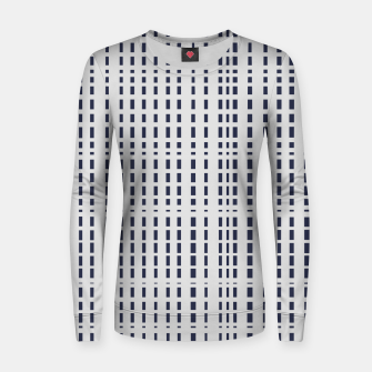 Miniatur Dark Blue Dotted Lines on light grey Women sweater, Live Heroes