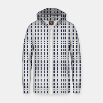 Thumbnail image of Dark Blue Dotted Lines on light grey Zip up hoodie, Live Heroes