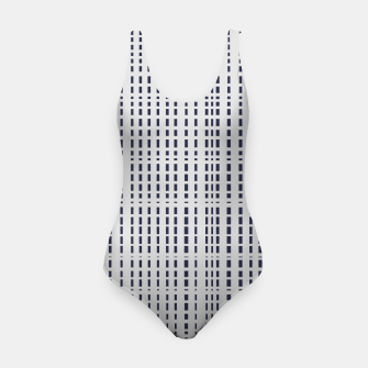 Miniatur Dark Blue Dotted Lines on light grey Swimsuit, Live Heroes