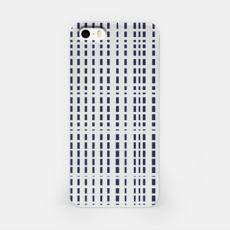 Imagen en miniatura de Dark Blue Dotted Lines on light grey iPhone Case, Live Heroes