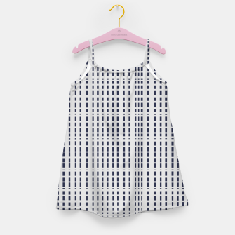Miniatur Dark Blue Dotted Lines on light grey Girl's dress, Live Heroes
