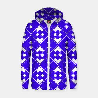 Imagen en miniatura de Abstract geometric pattern - blue and white. Zip up hoodie, Live Heroes