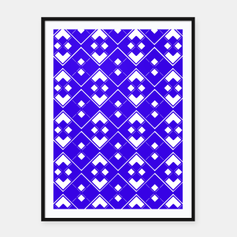 Miniaturka Abstract geometric pattern - blue and white. Framed poster, Live Heroes
