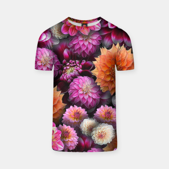 Miniatur Pink and Orange Dahlias T-shirt, Live Heroes