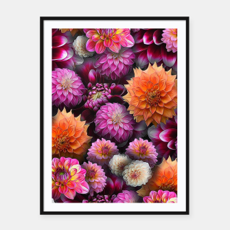 Thumbnail image of Pink and Orange Dahlias Framed poster, Live Heroes