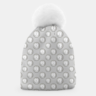 Thumbnail image of Vintage Wall Clock Print Pattern Beanie, Live Heroes