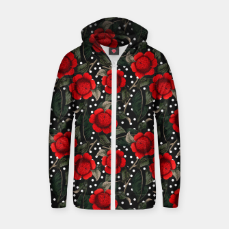 Thumbnail image of Red flowers on moles Sudadera con capucha y cremallera , Live Heroes
