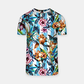 Thumbnail image of Floral Stripes Camiseta, Live Heroes