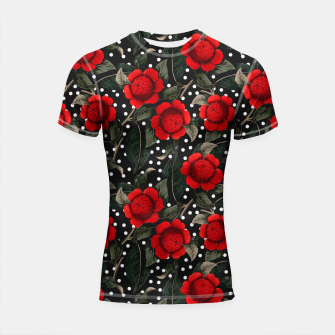 Thumbnail image of Red flowers on moles Shortsleeve rashguard, Live Heroes