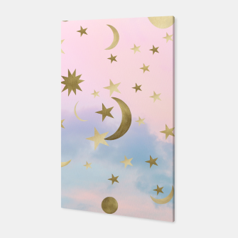Miniatur Pastel Starry Sky Moon Dream #1 #decor #art Canvas, Live Heroes