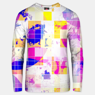 Miniatur geometric square and circle pattern abstract in pink blue yellow Unisex sweater, Live Heroes