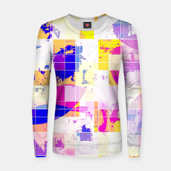 Miniaturka geometric square and circle pattern abstract in pink blue yellow Women sweater, Live Heroes