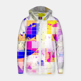 Imagen en miniatura de geometric square and circle pattern abstract in pink blue yellow Zip up hoodie, Live Heroes