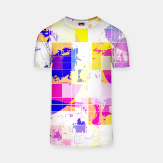 Miniatur geometric square and circle pattern abstract in pink blue yellow T-shirt, Live Heroes