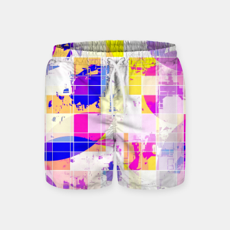 Miniaturka geometric square and circle pattern abstract in pink blue yellow Swim Shorts, Live Heroes