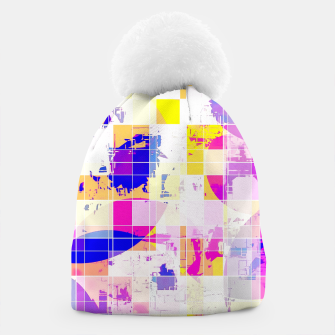 Miniatur geometric square and circle pattern abstract in pink blue yellow Beanie, Live Heroes