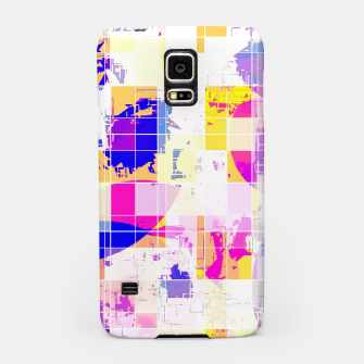 Miniatur geometric square and circle pattern abstract in pink blue yellow Samsung Case, Live Heroes