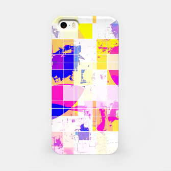 Miniaturka geometric square and circle pattern abstract in pink blue yellow iPhone Case, Live Heroes