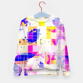 Miniaturka geometric square and circle pattern abstract in pink blue yellow Kid's sweater, Live Heroes