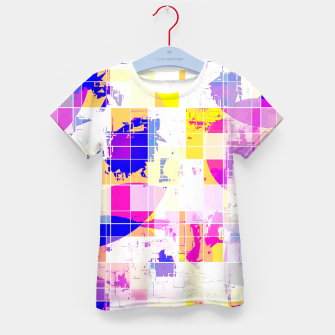 Miniaturka geometric square and circle pattern abstract in pink blue yellow Kid's t-shirt, Live Heroes