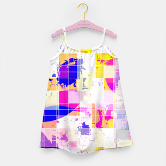 Miniatur geometric square and circle pattern abstract in pink blue yellow Girl's dress, Live Heroes