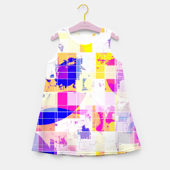 Miniatur geometric square and circle pattern abstract in pink blue yellow Girl's summer dress, Live Heroes