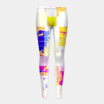 Miniatur geometric square and circle pattern abstract in pink blue yellow Girl's leggings, Live Heroes