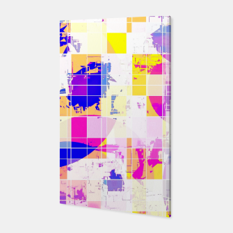 Miniatur geometric square and circle pattern abstract in pink blue yellow Canvas, Live Heroes