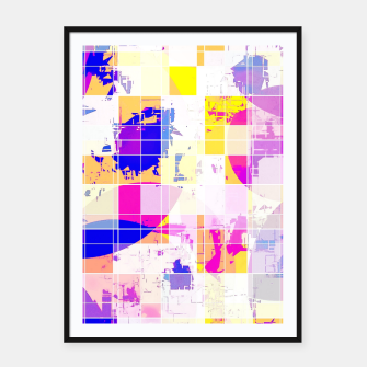 Miniatur geometric square and circle pattern abstract in pink blue yellow Framed poster, Live Heroes