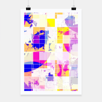 Miniaturka geometric square and circle pattern abstract in pink blue yellow Poster, Live Heroes