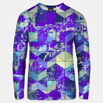 Miniatur geometric square and triangle pattern abstract in purple and blue Unisex sweater, Live Heroes