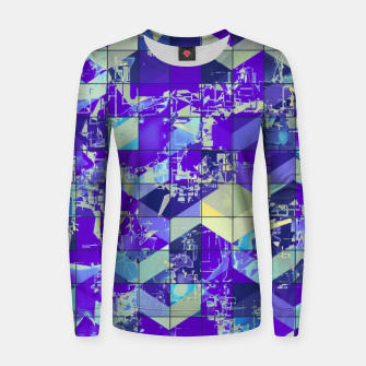 Miniaturka geometric square and triangle pattern abstract in purple and blue Women sweater, Live Heroes