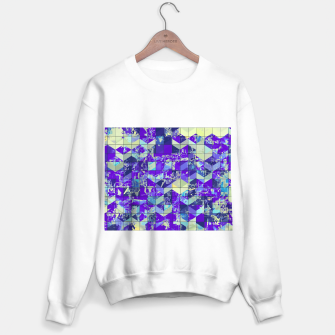 Miniaturka geometric square and triangle pattern abstract in purple and blue Sweater regular, Live Heroes