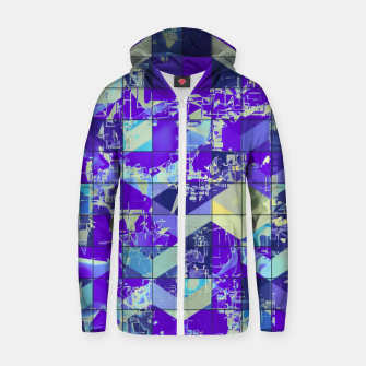 Imagen en miniatura de geometric square and triangle pattern abstract in purple and blue Zip up hoodie, Live Heroes