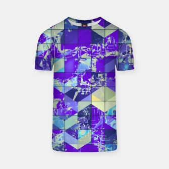 Miniatur geometric square and triangle pattern abstract in purple and blue T-shirt, Live Heroes