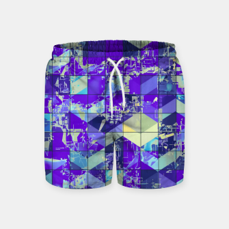 Miniaturka geometric square and triangle pattern abstract in purple and blue Swim Shorts, Live Heroes
