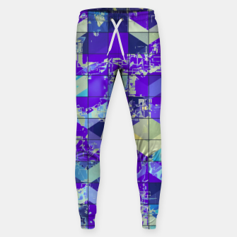 Miniaturka geometric square and triangle pattern abstract in purple and blue Sweatpants, Live Heroes