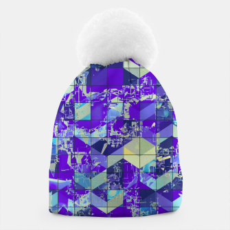 Miniatur geometric square and triangle pattern abstract in purple and blue Beanie, Live Heroes