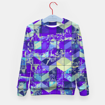 Miniaturka geometric square and triangle pattern abstract in purple and blue Kid's sweater, Live Heroes