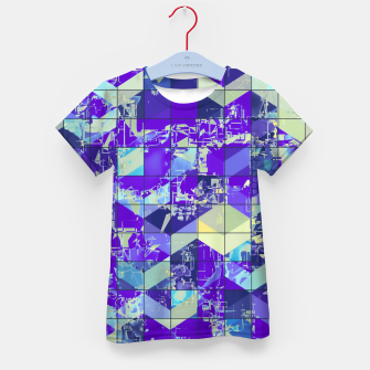 Miniaturka geometric square and triangle pattern abstract in purple and blue Kid's t-shirt, Live Heroes