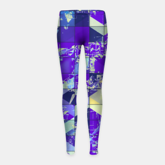 Miniatur geometric square and triangle pattern abstract in purple and blue Girl's leggings, Live Heroes