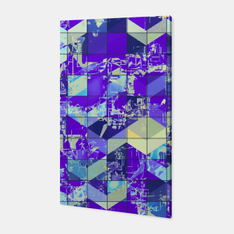 Miniatur geometric square and triangle pattern abstract in purple and blue Canvas, Live Heroes