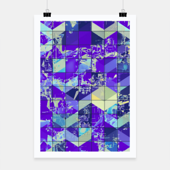Miniaturka geometric square and triangle pattern abstract in purple and blue Poster, Live Heroes