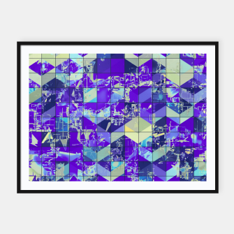Miniatur geometric square and triangle pattern abstract in purple and blue Framed poster, Live Heroes