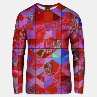 Miniatur geometric square and triangle pattern abstract in red and blue Unisex sweater, Live Heroes