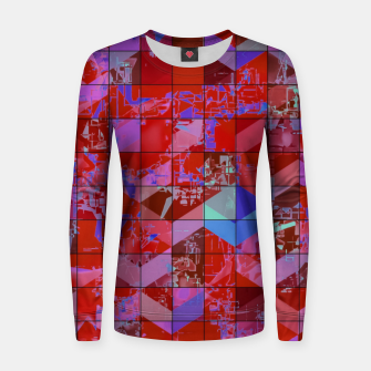 Miniaturka geometric square and triangle pattern abstract in red and blue Women sweater, Live Heroes