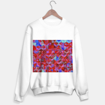 Miniaturka geometric square and triangle pattern abstract in red and blue Sweater regular, Live Heroes