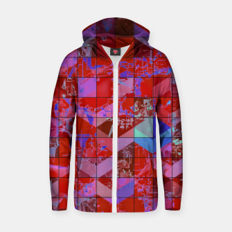 Imagen en miniatura de geometric square and triangle pattern abstract in red and blue Zip up hoodie, Live Heroes