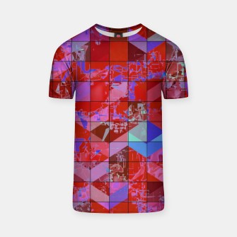 Miniatur geometric square and triangle pattern abstract in red and blue T-shirt, Live Heroes
