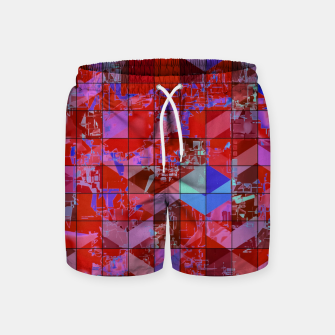 Miniaturka geometric square and triangle pattern abstract in red and blue Swim Shorts, Live Heroes